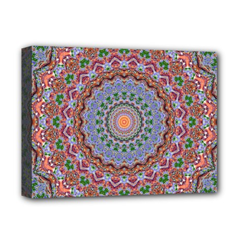 Abstract Painting Mandala Salmon Blue Green Deluxe Canvas 16  X 12   by EDDArt