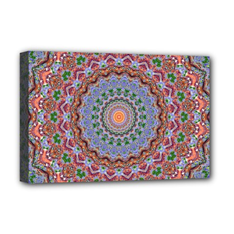 Abstract Painting Mandala Salmon Blue Green Deluxe Canvas 18  X 12   by EDDArt