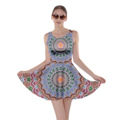 Abstract Painting Mandala Salmon Blue Green Skater Dress