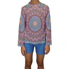 Abstract Painting Mandala Salmon Blue Green Kids  Long Sleeve Swimwear by EDDArt