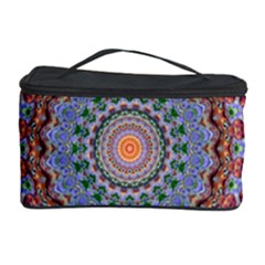 Abstract Painting Mandala Salmon Blue Green Cosmetic Storage Case by EDDArt