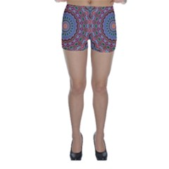 Abstract Painting Mandala Salmon Blue Green Skinny Shorts by EDDArt