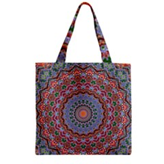Abstract Painting Mandala Salmon Blue Green Zipper Grocery Tote Bag by EDDArt