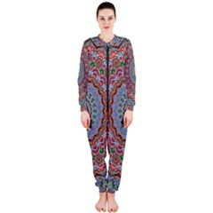 Abstract Painting Mandala Salmon Blue Green Onepiece Jumpsuit (ladies)  by EDDArt