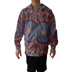 Abstract Painting Mandala Salmon Blue Green Hooded Wind Breaker (kids)