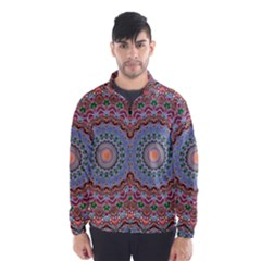 Abstract Painting Mandala Salmon Blue Green Wind Breaker (men)