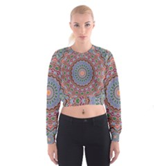 Abstract Painting Mandala Salmon Blue Green Women s Cropped Sweatshirt