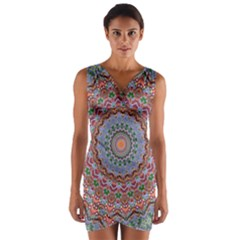 Abstract Painting Mandala Salmon Blue Green Wrap Front Bodycon Dress by EDDArt