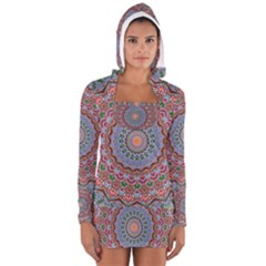 Abstract Painting Mandala Salmon Blue Green Women s Long Sleeve Hooded T Shirt
