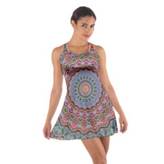 Abstract Painting Mandala Salmon Blue Green Cotton Racerback Dress