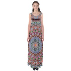 Abstract Painting Mandala Salmon Blue Green Empire Waist Maxi Dress