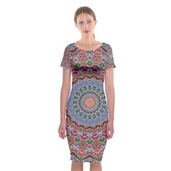 Abstract Painting Mandala Salmon Blue Green Classic Short Sleeve Midi Dress