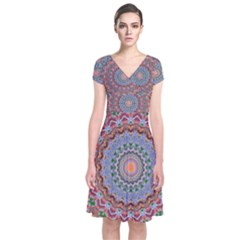 Abstract Painting Mandala Salmon Blue Green Short Sleeve Front Wrap Dress