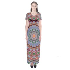 Abstract Painting Mandala Salmon Blue Green Short Sleeve Maxi Dress
