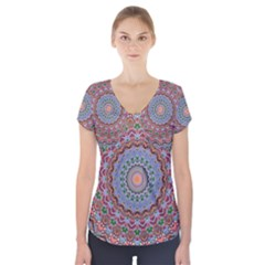 Abstract Painting Mandala Salmon Blue Green Short Sleeve Front Detail Top by EDDArt