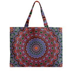 Abstract Painting Mandala Salmon Blue Green Medium Tote Bag by EDDArt