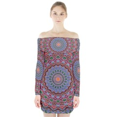 Abstract Painting Mandala Salmon Blue Green Long Sleeve Off Shoulder Dress