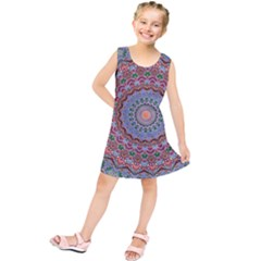 Abstract Painting Mandala Salmon Blue Green Kids  Tunic Dress