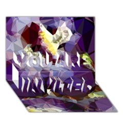 Purple Abstract Geometric Dream You Are Invited 3d Greeting Card (7x5) by DanaeStudio