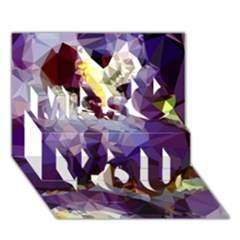 Purple Abstract Geometric Dream Miss You 3d Greeting Card (7x5) by DanaeStudio