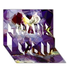 Purple Abstract Geometric Dream Thank You 3d Greeting Card (7x5) by DanaeStudio