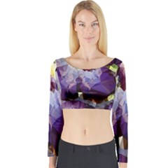Purple Abstract Geometric Dream Long Sleeve Crop Top by DanaeStudio