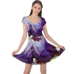 Purple Abstract Geometric Dream Cap Sleeve Dresses by DanaeStudio
