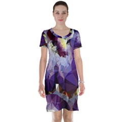 Purple Abstract Geometric Dream Short Sleeve Nightdress by DanaeStudio
