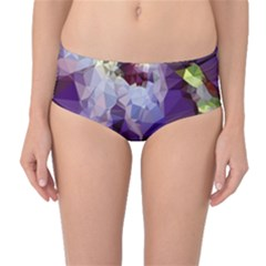 Purple Abstract Geometric Dream Mid Waist Bikini Bottoms by DanaeStudio