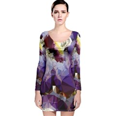 Purple Abstract Geometric Dream Long Sleeve Velvet Bodycon Dress by DanaeStudio
