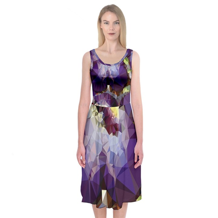 Purple Abstract Geometric Dream Midi Sleeveless Dress