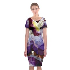 Purple Abstract Geometric Dream Classic Short Sleeve Midi Dress by DanaeStudio