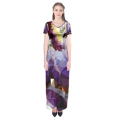 Purple Abstract Geometric Dream Short Sleeve Maxi Dress by DanaeStudio