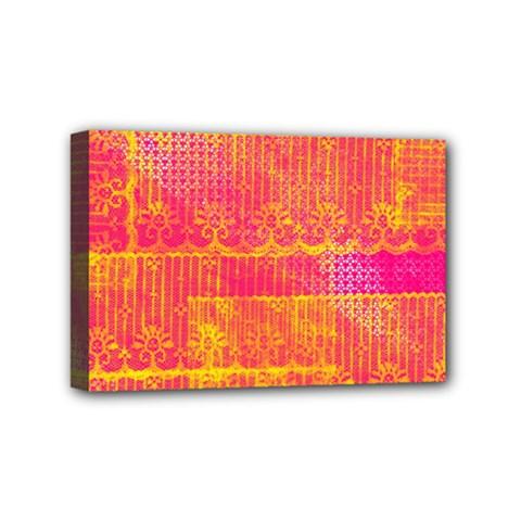 Yello And Magenta Lace Texture Mini Canvas 6  X 4  by DanaeStudio