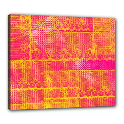 Yello And Magenta Lace Texture Canvas 24  X 20  by DanaeStudio