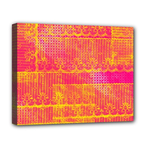 Yello And Magenta Lace Texture Deluxe Canvas 20  X 16   by DanaeStudio