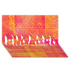 Yello And Magenta Lace Texture Engaged 3d Greeting Card (8x4) by DanaeStudio