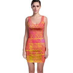 Yello And Magenta Lace Texture Sleeveless Bodycon Dress by DanaeStudio