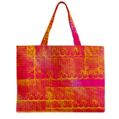 Yello And Magenta Lace Texture Mini Tote Bag by DanaeStudio