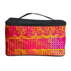 Yello And Magenta Lace Texture Cosmetic Storage Case by DanaeStudio