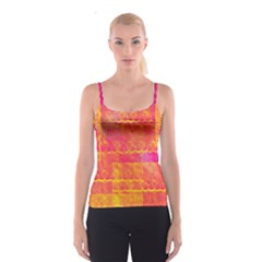 Yello And Magenta Lace Texture Spaghetti Strap Top by DanaeStudio
