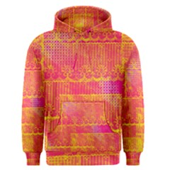 Yello And Magenta Lace Texture Men s Pullover Hoodie by DanaeStudio