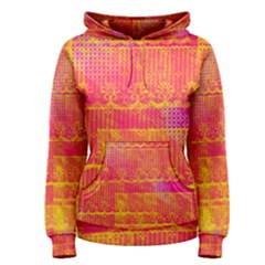 Yello And Magenta Lace Texture Women s Pullover Hoodie by DanaeStudio