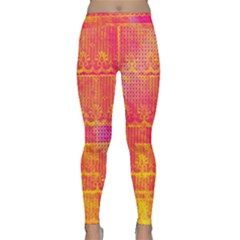 Yello And Magenta Lace Texture Yoga Leggings  by DanaeStudio