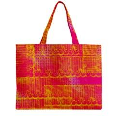 Yello And Magenta Lace Texture Zipper Mini Tote Bag by DanaeStudio