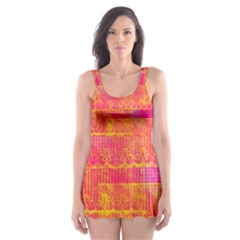 Yello And Magenta Lace Texture Skater Dress Swimsuit by DanaeStudio