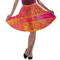 Yello And Magenta Lace Texture A Line Skater Skirt by DanaeStudio
