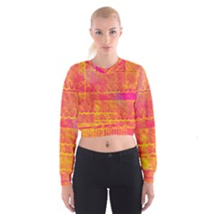 Yello And Magenta Lace Texture Women s Cropped Sweatshirt by DanaeStudio