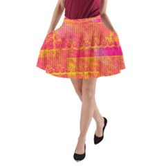 Yello And Magenta Lace Texture A Line Pocket Skirt by DanaeStudio