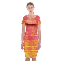 Yello And Magenta Lace Texture Classic Short Sleeve Midi Dress by DanaeStudio